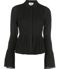 alexis chantal shirred bell-sleeved shirt - black