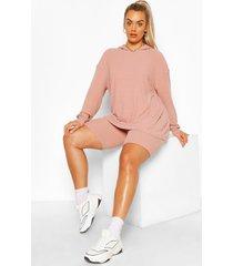 plus zachte geribbelde hoodie en fietsbroek set, rose