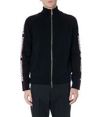 dsquared2 black side logo band zipped jacket