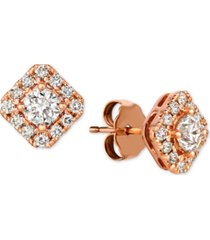 diamond halo square stud earrings (3/4 ct. t.w.) in 14k rose gold or 14k yellow gold