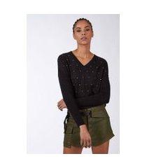 blusa de tricot decote v com aplicação preto