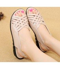 peep toe soft suola piatta sandali slingback per le donne