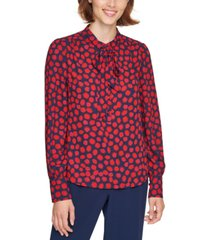 karl lagerfeld paris printed tie-neck blouse
