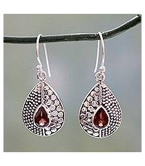 garnet dangle earrings, 'scarlet fusion' (india)