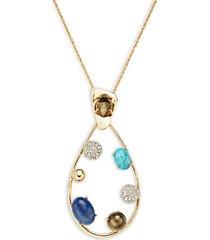 10k goldplated & multi-stone teardrop pendant necklace