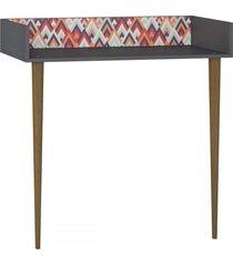 mesa escrivaninha de parede 1003 retro espresso/estampa vermelha - bentec