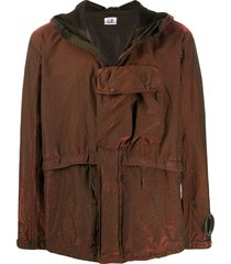 c.p. company metallic multi-pocket hooded jacket - orange