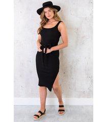 stretch jurk met knoop zwart