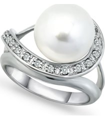imitation pearl and pave cubic zirconia swirl wrap ring in fine silver plate
