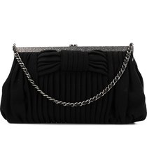 chanel pre-owned 2007-2008 bow-detailed clutch - black