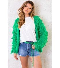 oversized knitted fringe vest bright green