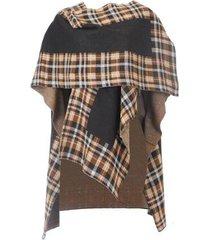 poncho ruanda casaco algodão feminino xadrez casual conforto - feminino