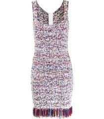 balmain fringed-hem tweed dress - white