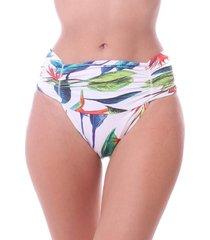 calcinha de biquini simony lingerie tanga alta franzida luna beach verde - kanui