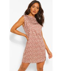 graffiti print shoulder pad tee dress, brown
