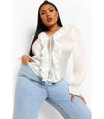plus satijnen gehaakte blouse, white