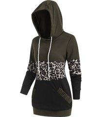 leopard patchwork pocket pullover hoodie