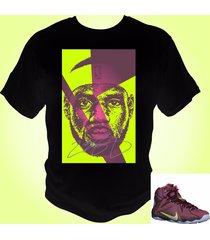 lebron james 12 t-shirt merlot/volt/pink pow/metallic silver theme