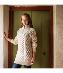 women's kinnagoe aran sweater cream xxl