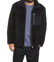 men's topman palmer faux fur jacket, size x-small - black