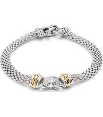 effy women's sterling silver, 14k yellow gold & diamond bracelet