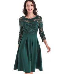vestido clásico encaje verde nicopoly