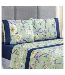 jogo de cama forest floral verde/marinho solteiro micropercal 200 fios 03 peças