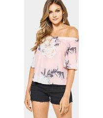 blusa de gasa con hombros descubiertos y elástico con estampado floral al azar en rosa