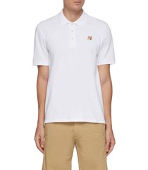 embroidered fox head patch cotton polo shirt
