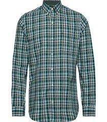 poplin plaid bd shirt skjorta casual blå izod