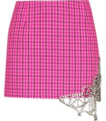 area crystal-butterfly checked mini skirt - pink
