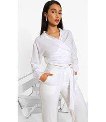 blouse met strik, white