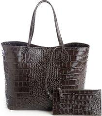 croc-embossed wide tote bag & wristlet