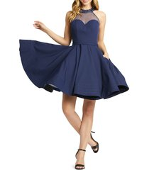 mac duggal women's halterneck fit-&-flare dress - burgundy - size 6