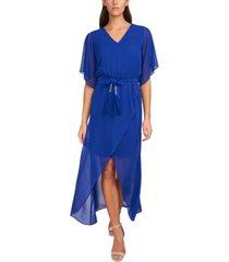 msk belted flutter-sleeve dress