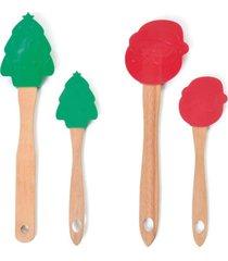 kit com 2 espátulas natal material silicone cor vermelha