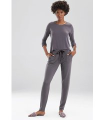 natori cozy top pajamas, women's, brown, size xl natori
