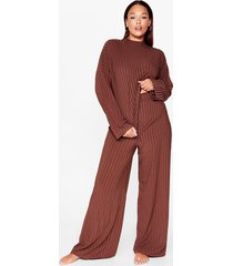 womens chill out plus wide-leg pants set - chocolate