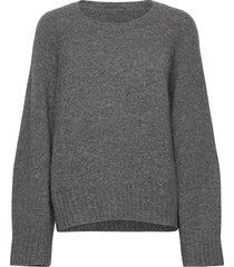 emily round neck stickad tröja grå dagmar