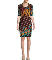 abstract wool-blend bodycon dress