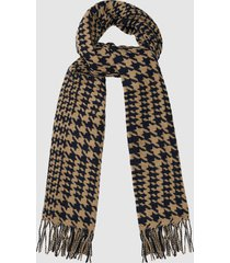 reiss payne - dogtooth checked scarf in black/ camel, mens