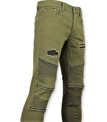true rise biker skinny jeans broek