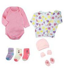 kit enxoval bebê 9 pçs body conjunto pijama e acessório bebê rosa