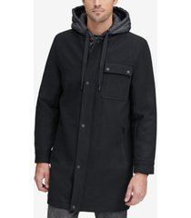marc new york men's baseball coat with removable hood