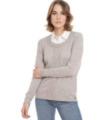 sweater io liso c/blusa gris - calce regular