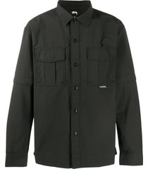 stussy utility convertible style shirt - black