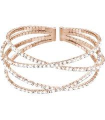bracciale bangle in metallo rosato e cristalli per donna