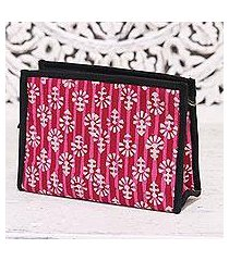 batik cotton clutch, 'magnificent flair in red' (india)