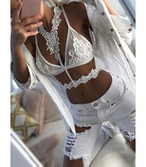 white sexy choker neck crochet floral lace bralette top