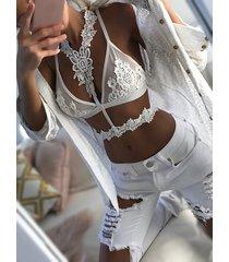 top bralette de encaje floral de ganchillo con cuello gargantilla sexy blanco